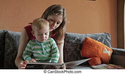 livre lecture, mère, elle, fils