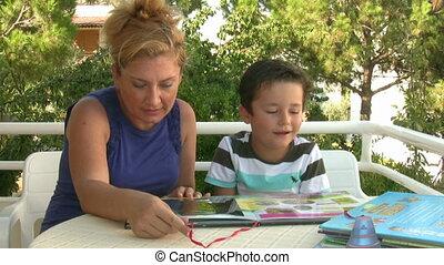 livre lecture, mère, fils
