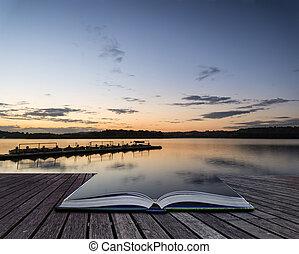livre, levers de soleil, lac, jetée, vibrant, paysage, conceptuel, calme