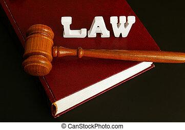livre loi, marteau, et, lettres, orthographe, droit & loi