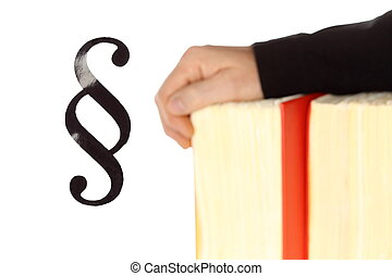 livre loi, symbolique, fond, mains