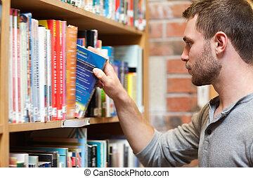 livre, mâle, cueillette, étudiant
