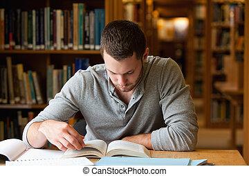 livre, mâle, rechercher, étudiant