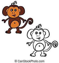 livre, mignon, coloration, dessin animé, monkey.