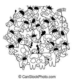 livre, mignon, forme, cercle, coloration, modèle, vaches
