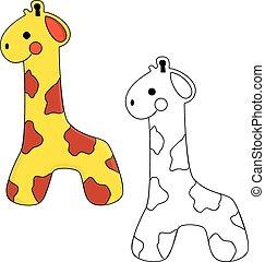 livre, mignon, girafe, coloration, toy.