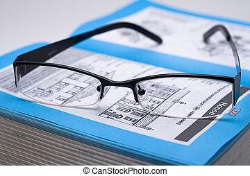 livre, noir, lunettes