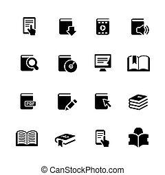 //, livre, noir, série, icônes