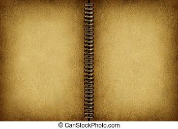 livre note, vieux, vide