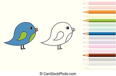 livre, oiseau, crayons, mignon, peu, coloration