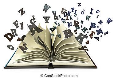 livre ouvert, à, tomber, lettres