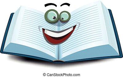 livre ouvert, caractère, icône