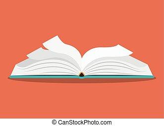 livre ouvert, conception, une