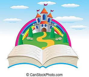 livre, ouvert, fée-conte, palais