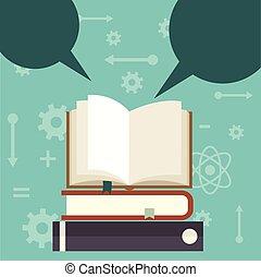 livre ouvert, fond, à, parole, bulles