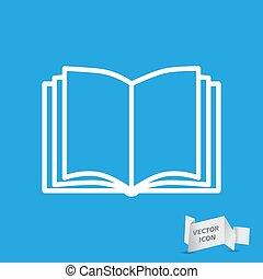 livre ouvert, icône, bleu, vecteur, fond