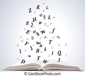 livre ouvert, isolé, blanc, fond
