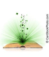 livre ouvert, magie, blanc