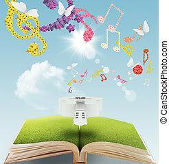 livre ouvert, musique