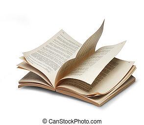 livre, ouvert, pages, riffling