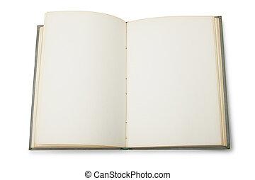livre, ouvert, pages, vide