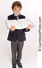 livre, ouvert, tenue, écolier