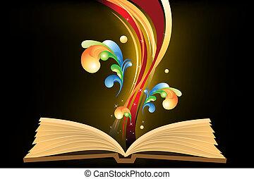 livre, ouvert, vagues