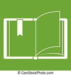 livre ouvert, vert, icône