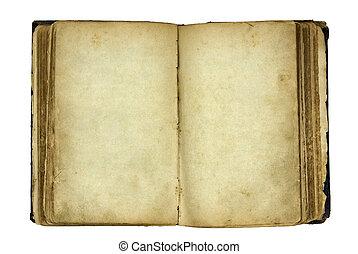 livre ouvert, vieux, vide