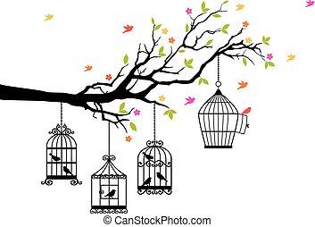 livre, pássaros, e, birdcages, vetorial