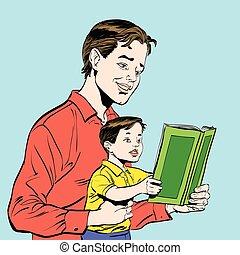 livre, père, lecture, fils