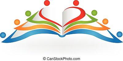 livre, pédagogique, logo