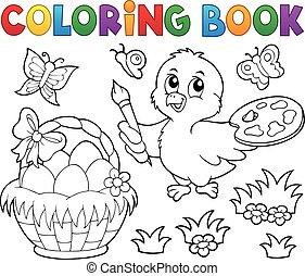 livre, paques, poulet, coloration, thème