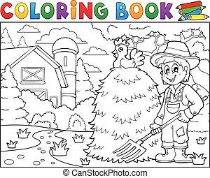 livre, paysan, 1, coloration, ferme