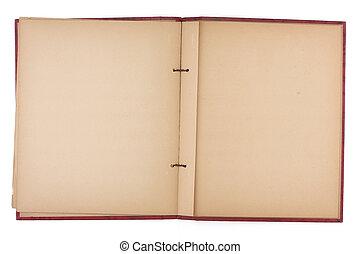 livre petit morceau, vieux, pages, vide