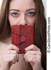 livre, peu, femme, jeune, top secret