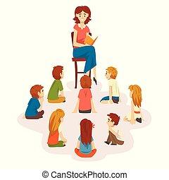 livre, plancher, prof, illustration, chaise, séance, lecture, préscolaire, vecteur, groupe, enfants, gosses