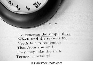 livre, poésie, horloge
