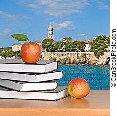 livre, pomme, rouges