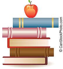 livre, pomme, rouges, pile