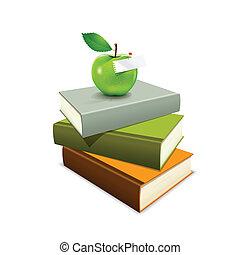 livre, pomme verte, coloré