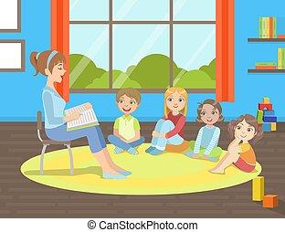 livre, prof, illustration, chaise, séance, lecture, vecteur, groupe, les, plancher, gosses