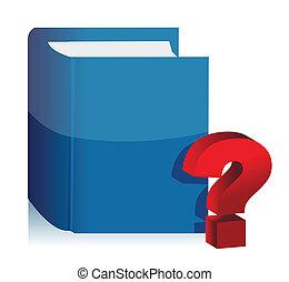 livre, question, illustration, marque