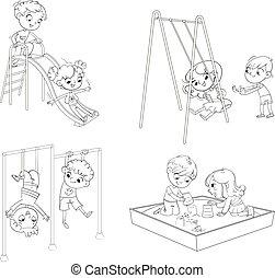 livre, récréation, zone., games., endroit, playground., coloration, gosses, park.