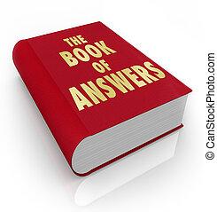 livre, réponses, sagesse, conseil, manuel, aide