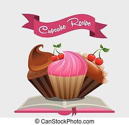 livre, recette, petit gâteau