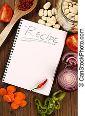 livre, recette, vide