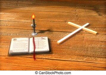 livre, religieux, croix