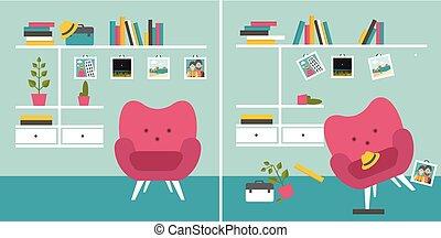 livre, room., und, rangé, shelves., fauteuil, désordonné, ...