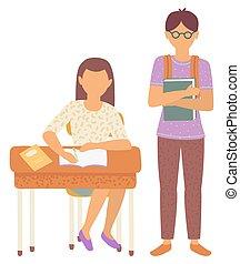 livre scolaire, girl, bureau, garçon, camarades classe